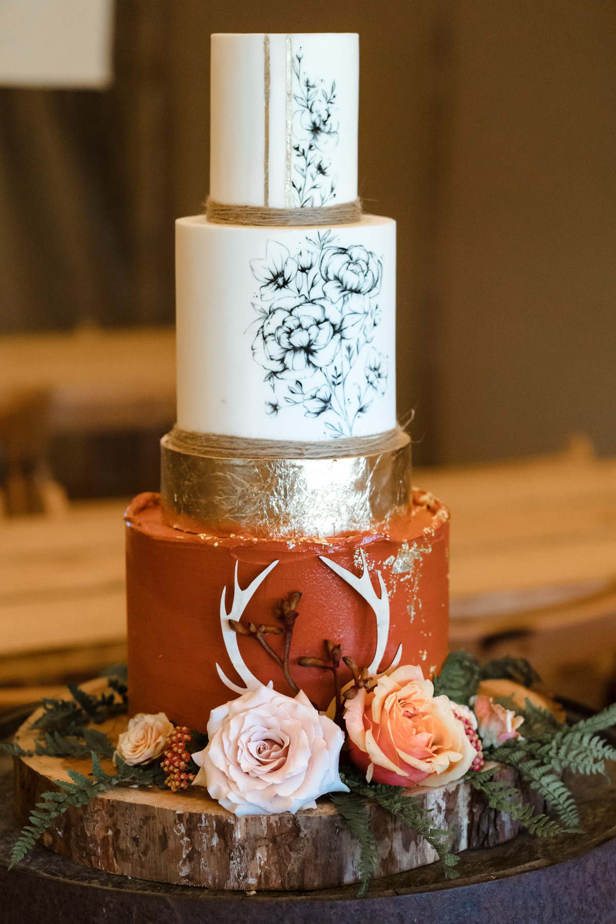 terra-cotta and gold wedding cake