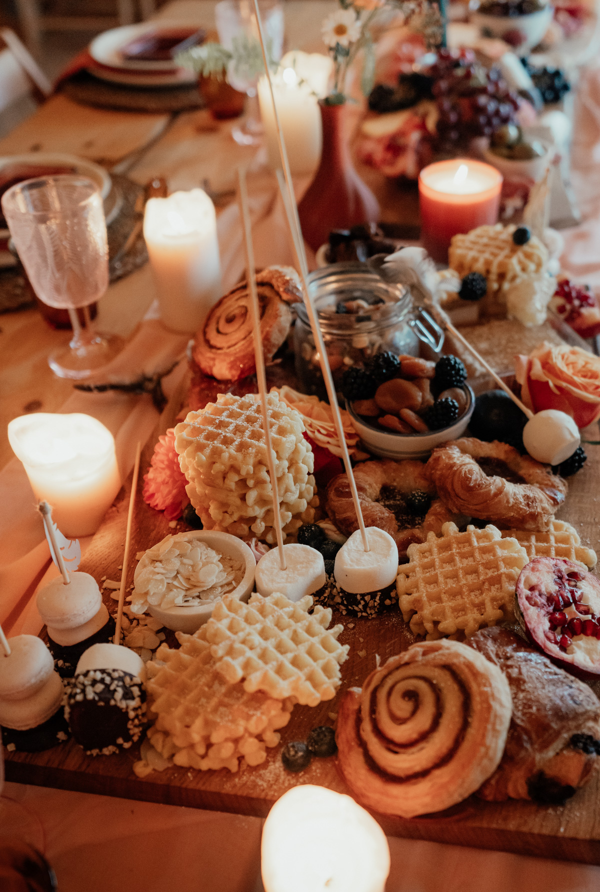 chocolate fondue waffle bar for wedding