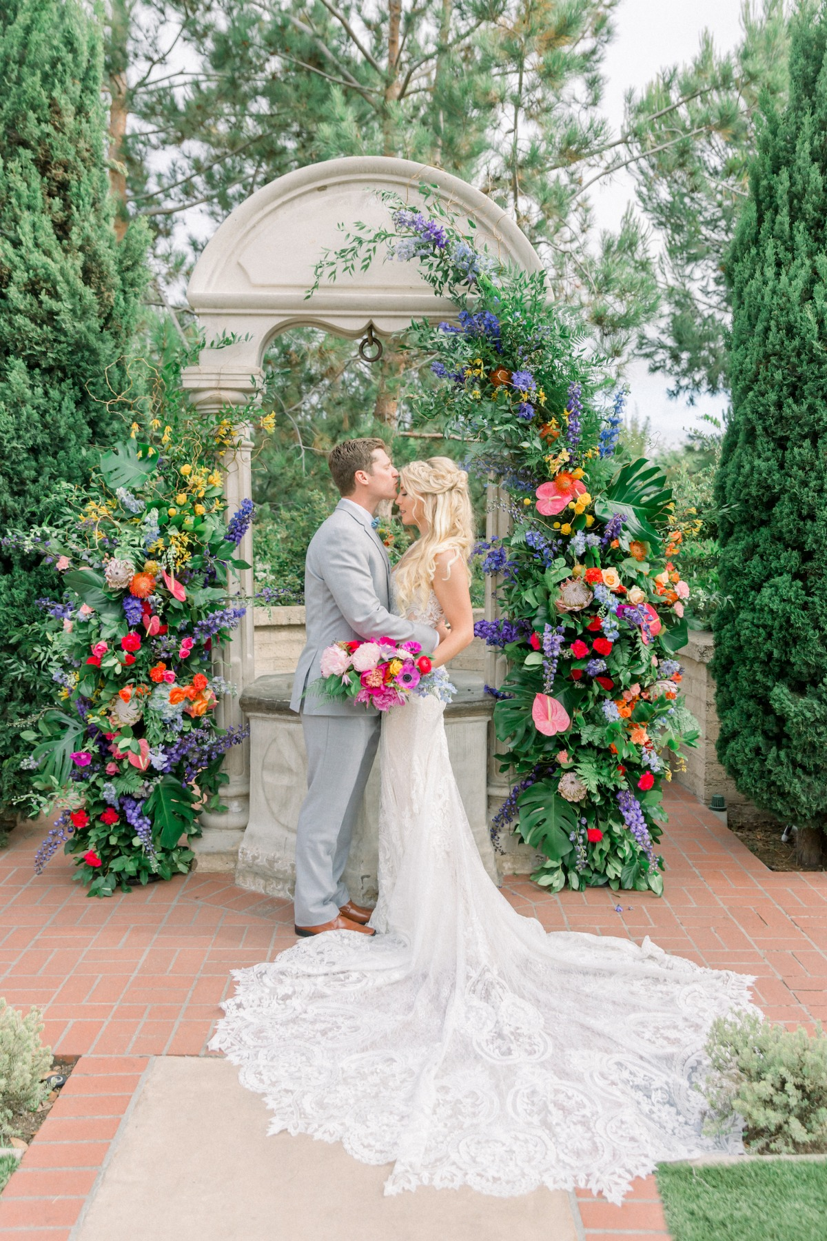 colorful wedding backdrop designed by Tyler Speier Events
