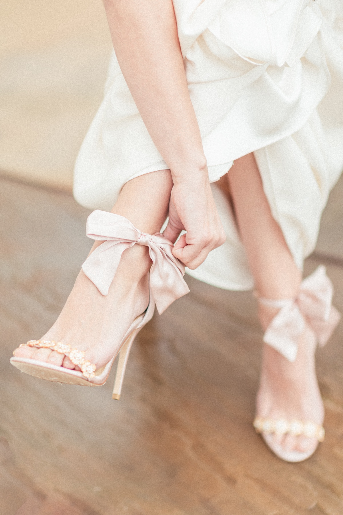 Bella Belle pink tie wedding shoes