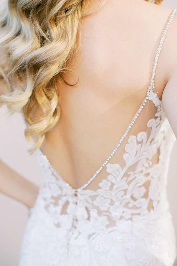 spaghetti strap wedding dress with jewels