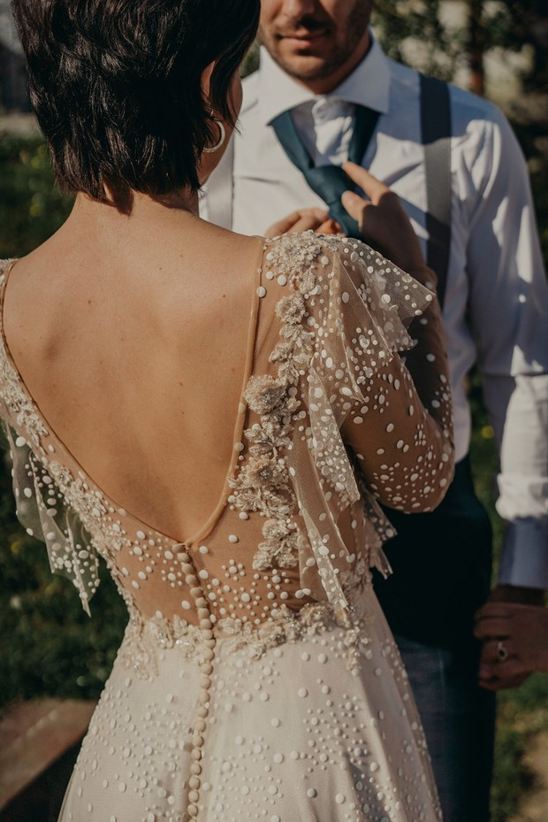 low back wedding dress with buttons