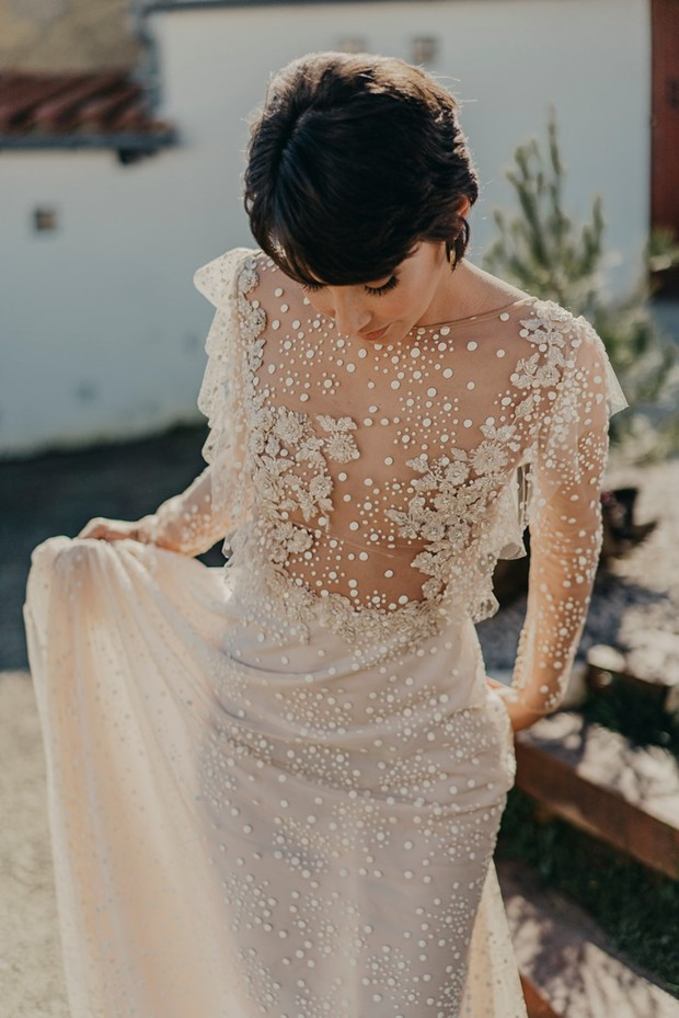illusion wedding dress with embroidery