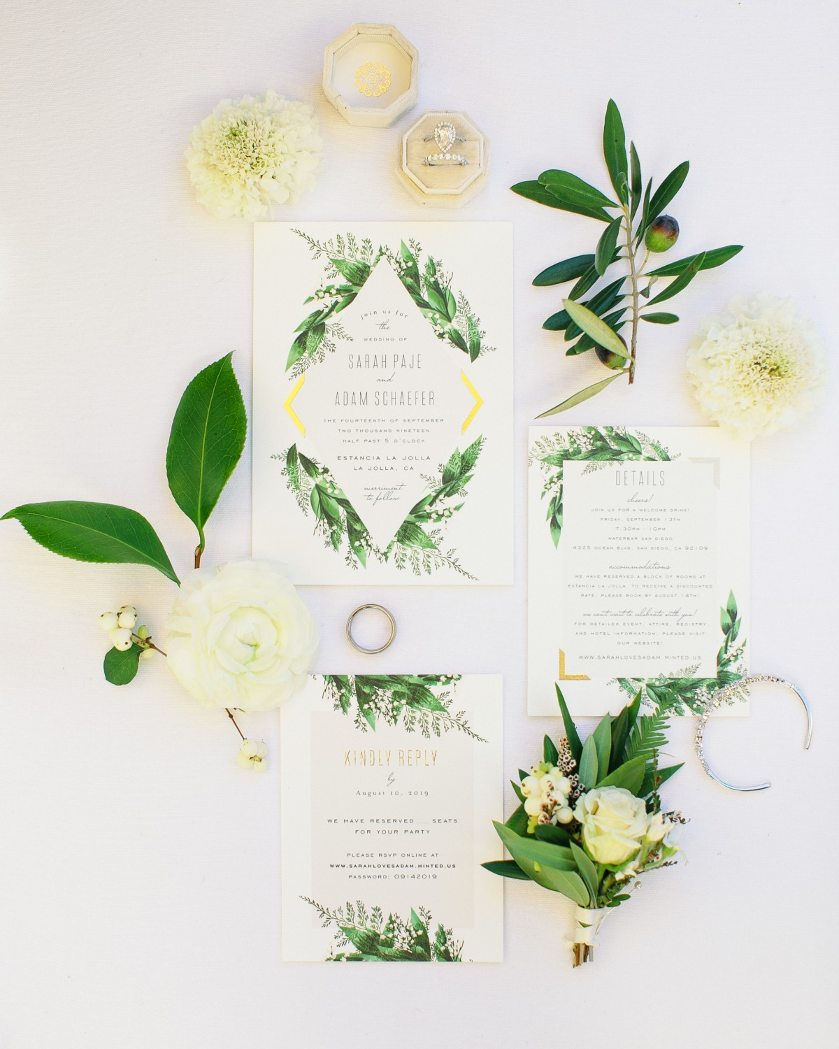 green and gold wedding invites