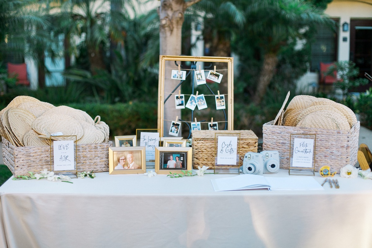 Welcome wedding table with fans