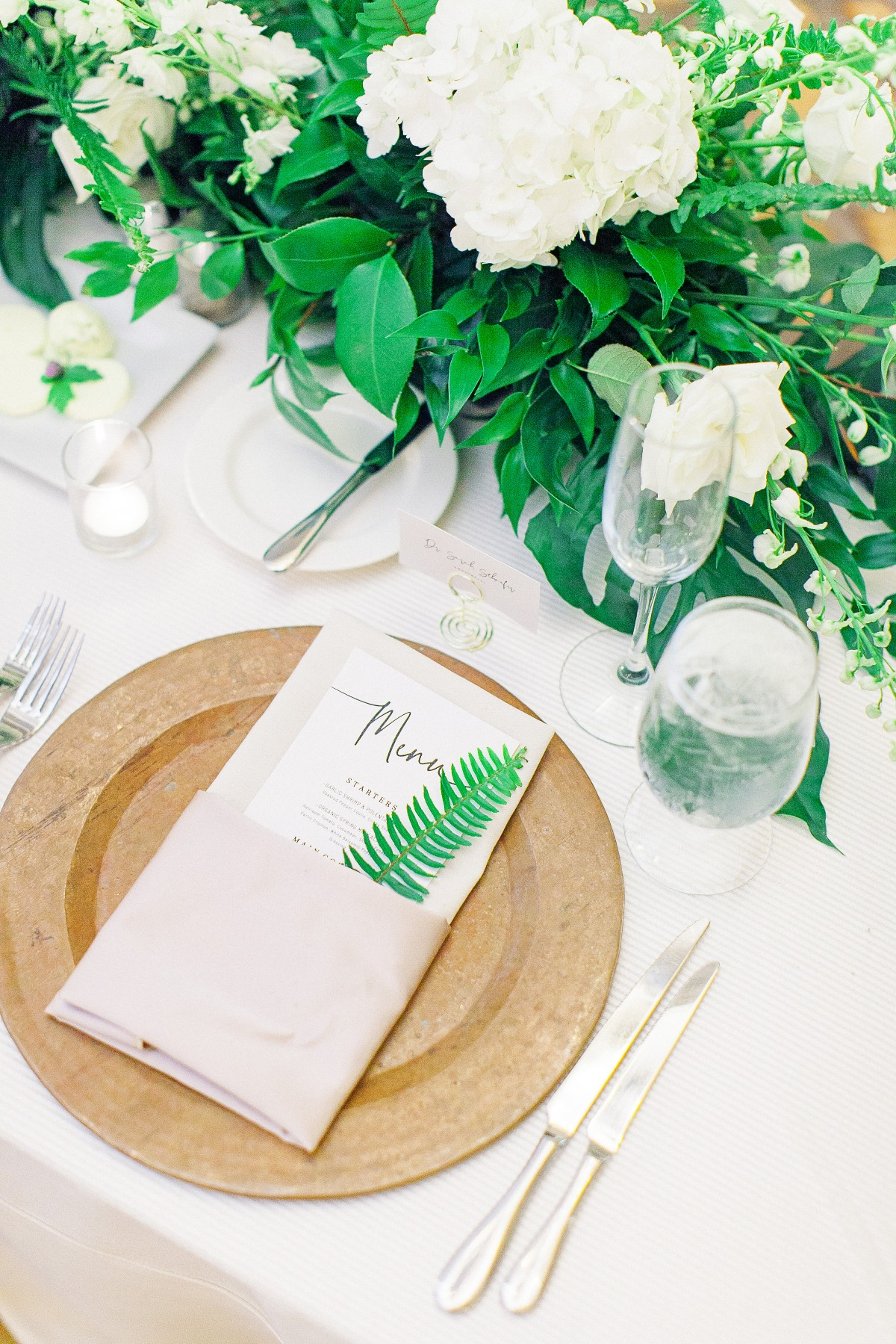 green, white and gold wedding reception