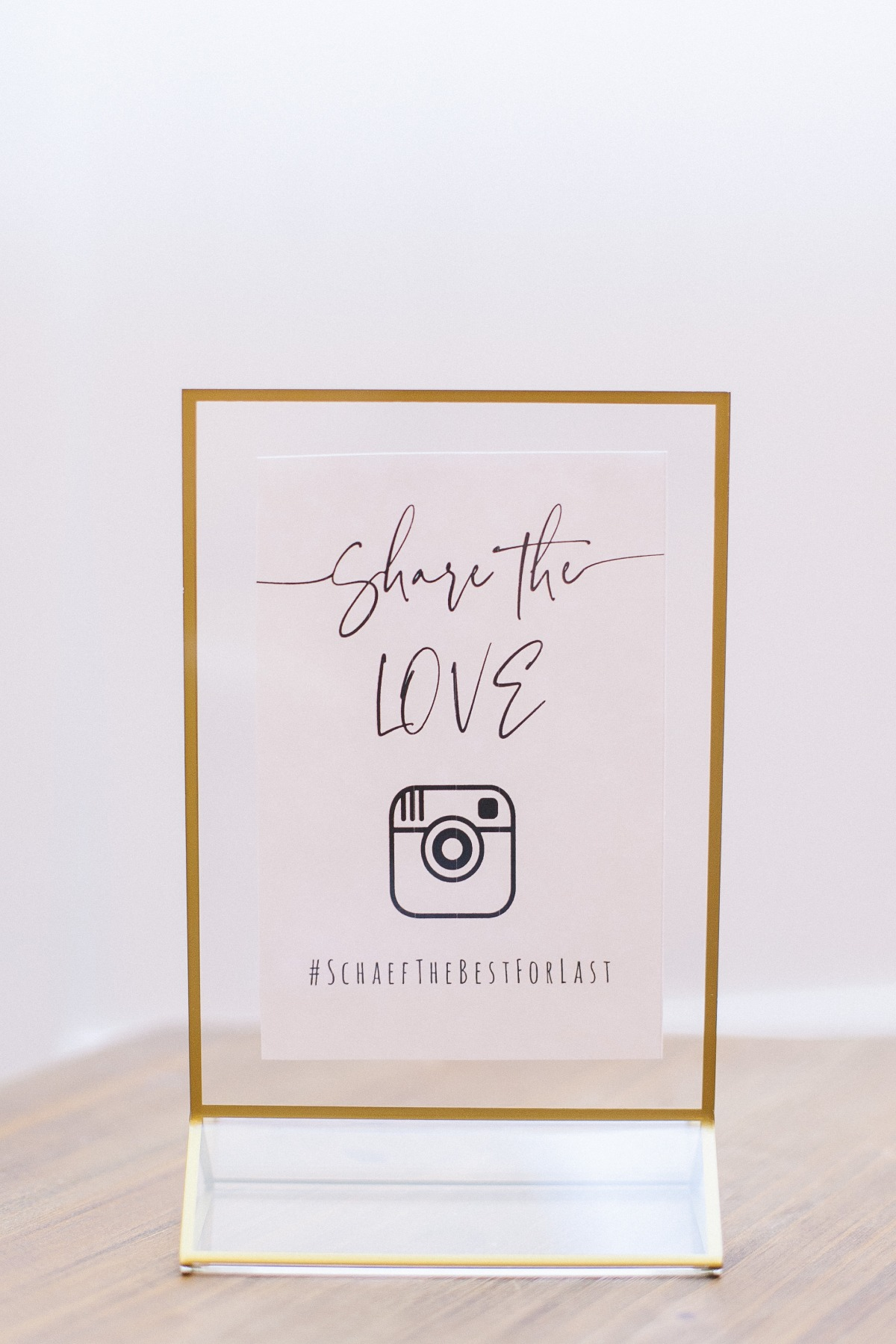 Instagram hash tag in gold frame