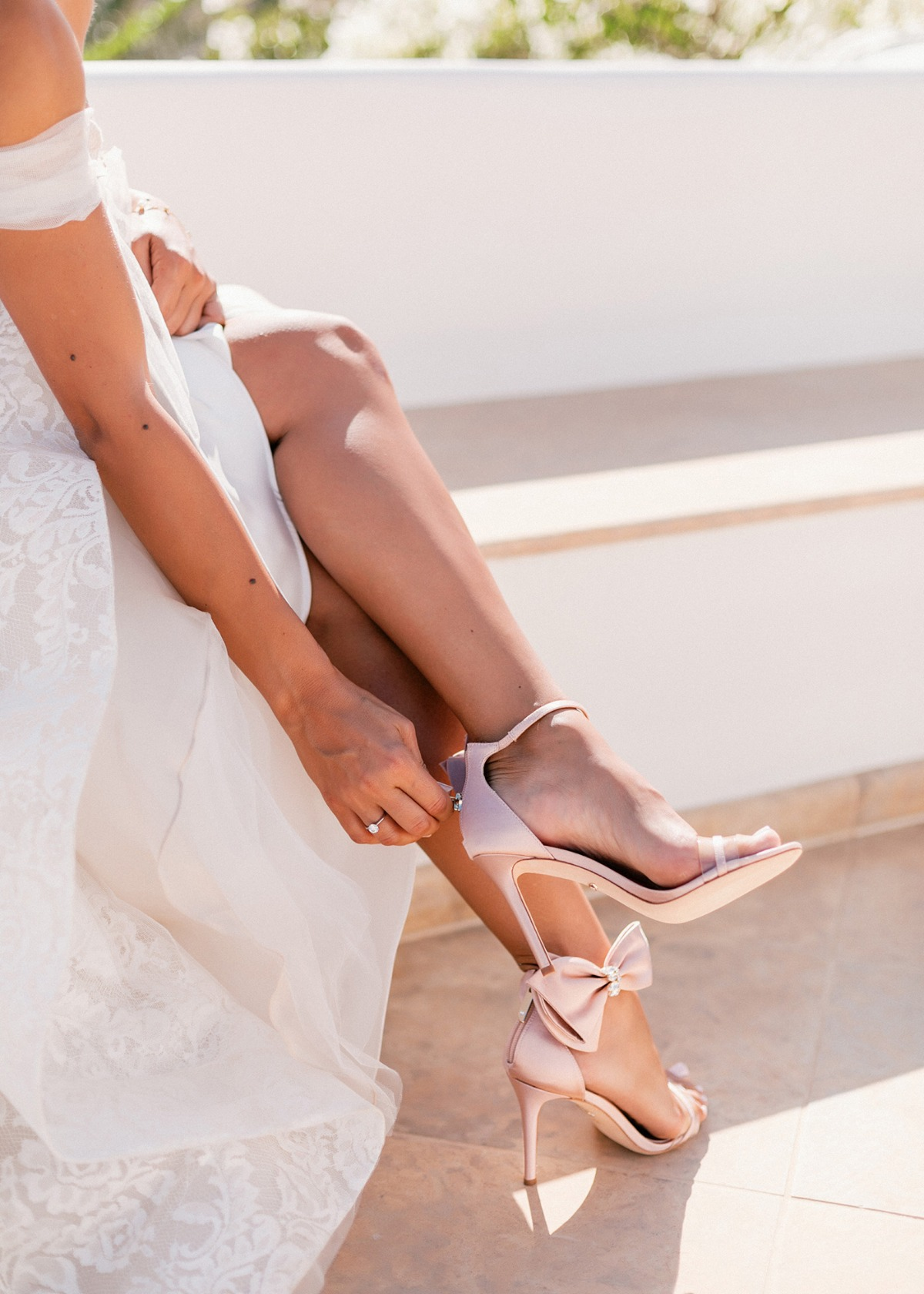 Pink Bow Badgley Mischka wedding shoes