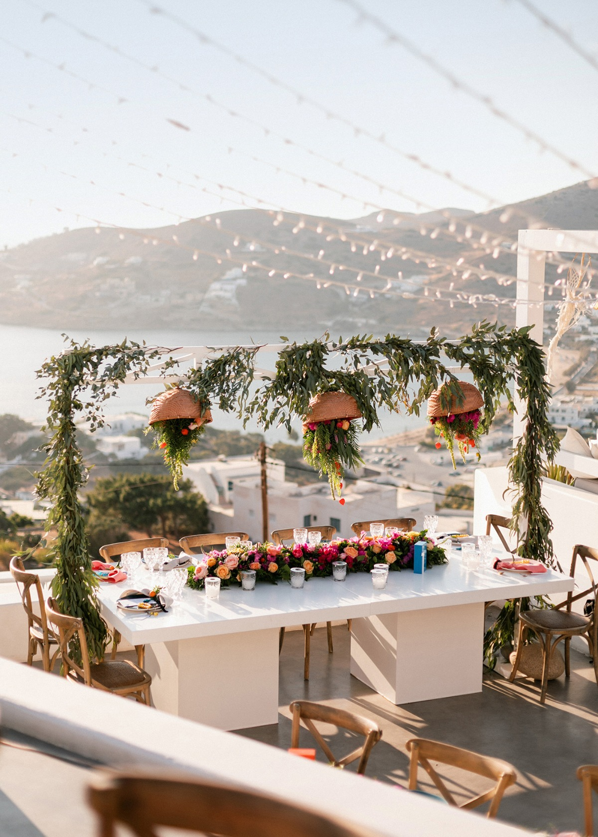 Colorful Greece wedding reception