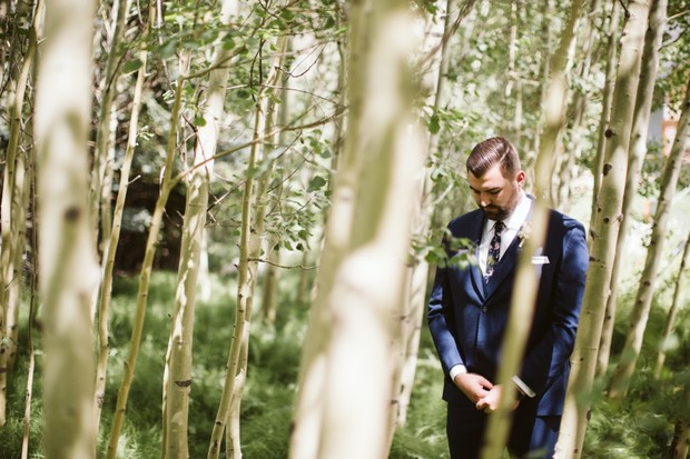 groom waiting to see Bride during first look