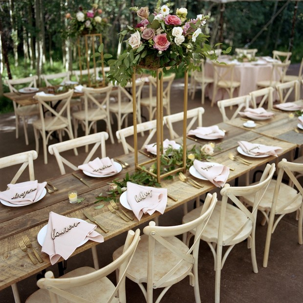 Rustic yet elegant wedding reception