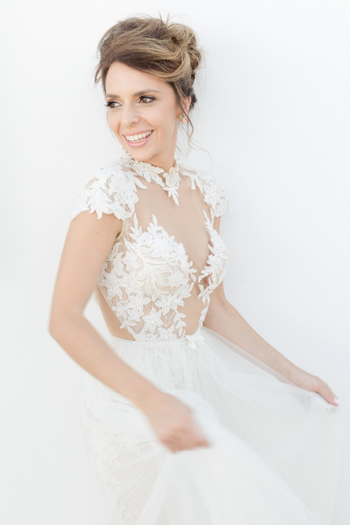 cap sleeve wedding dress with keyhole back