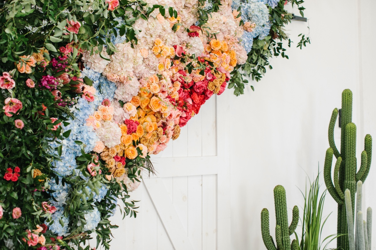 rainbow flower backdrop by T Villager Designs