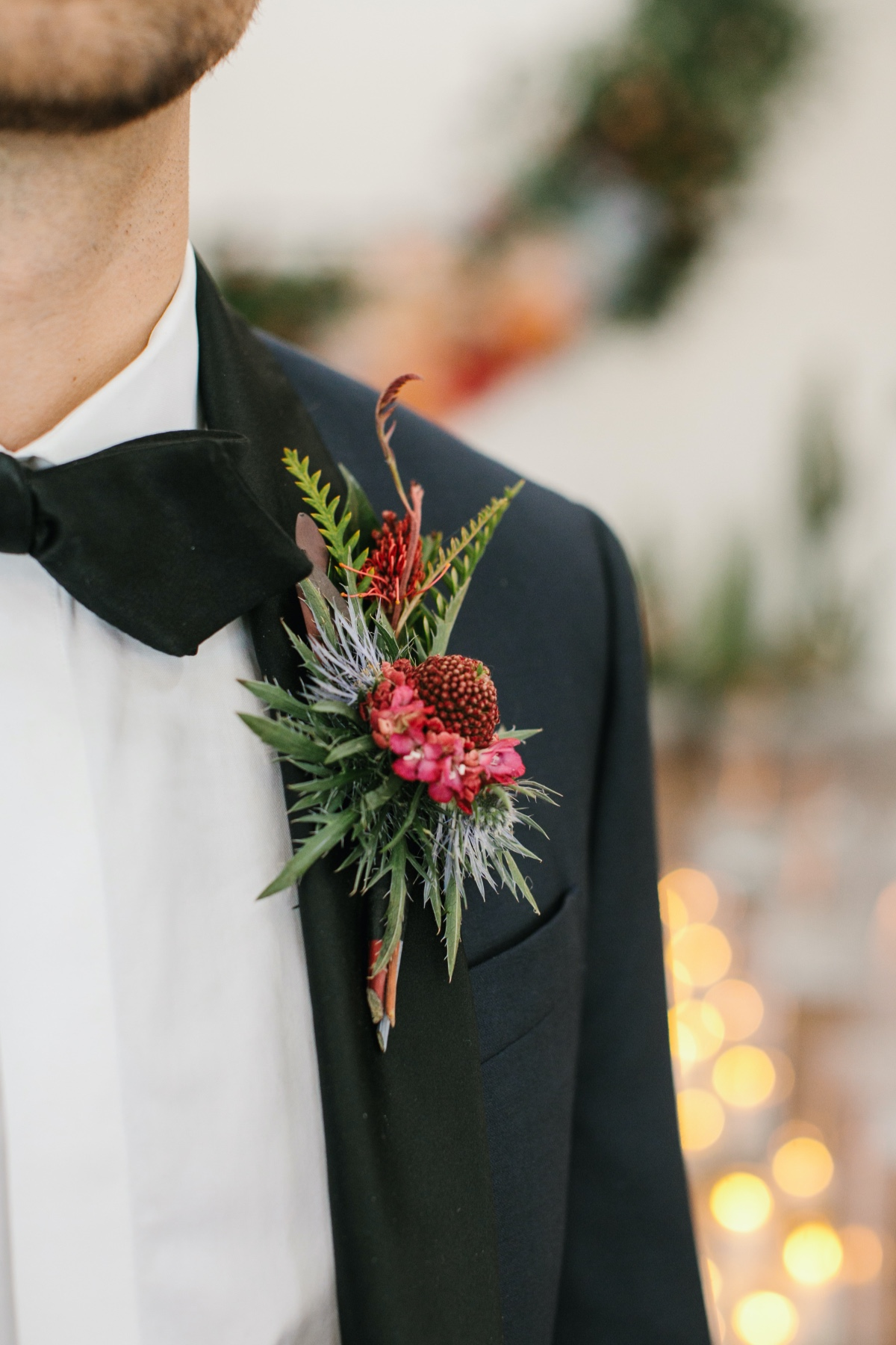 succulent boutonnière in black tie tux from The Black Tux