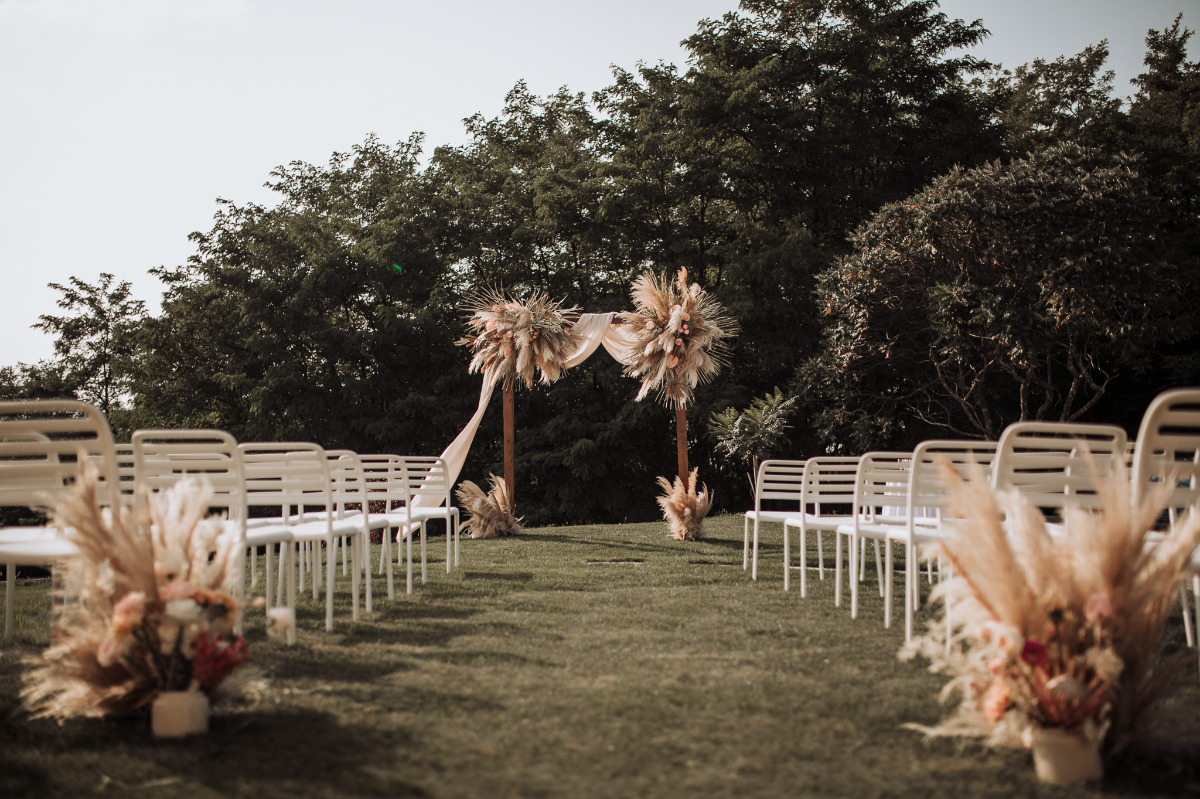 boho chic wedding reception setup