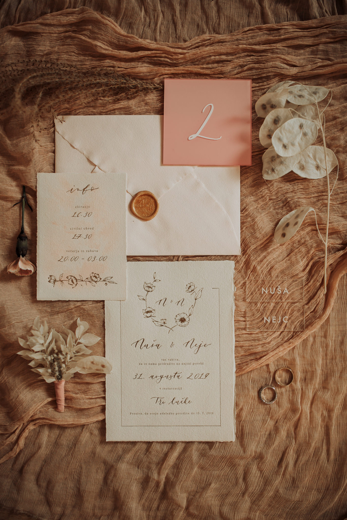 boho natural wedding invites