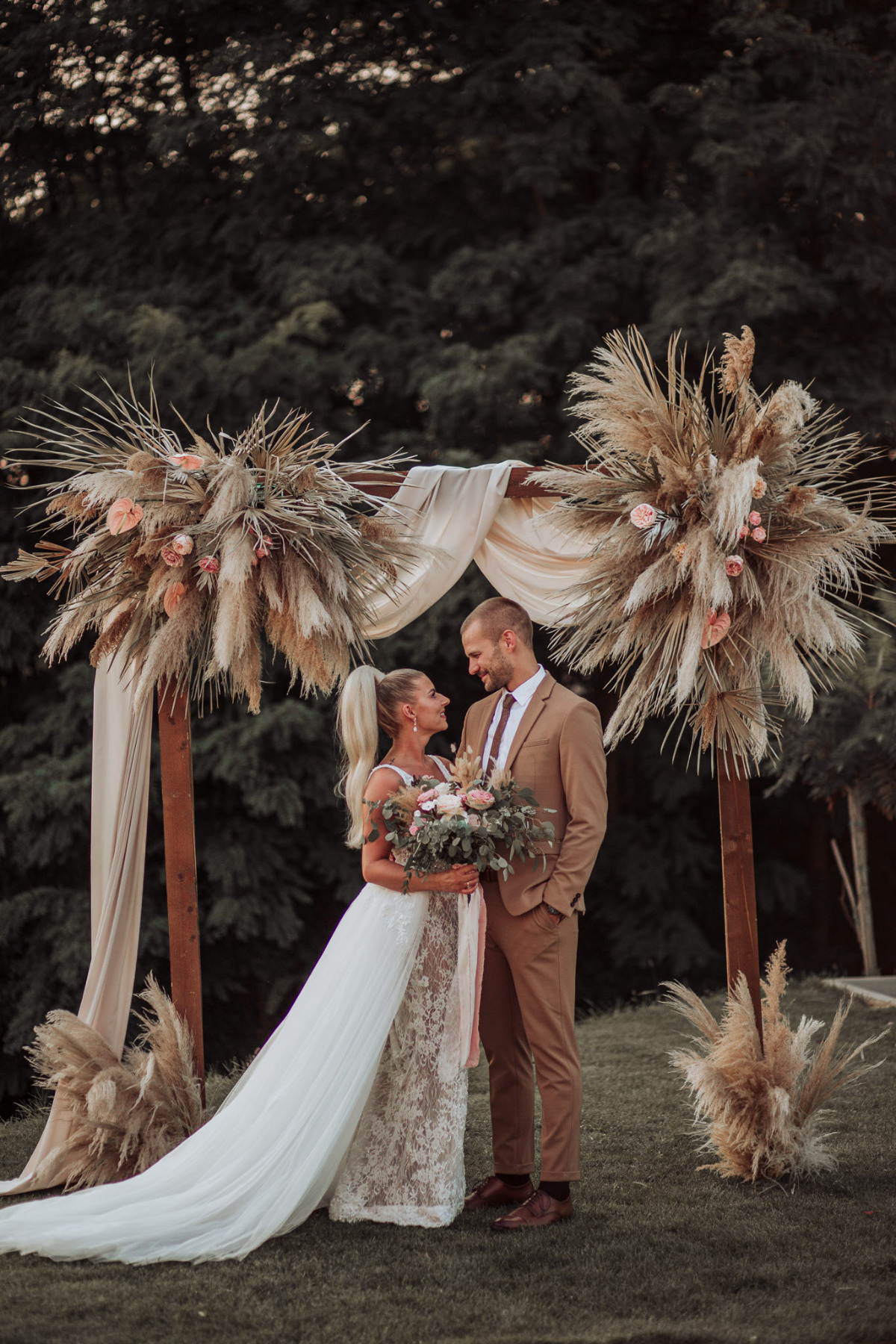 Pampas grass wedding backdrop