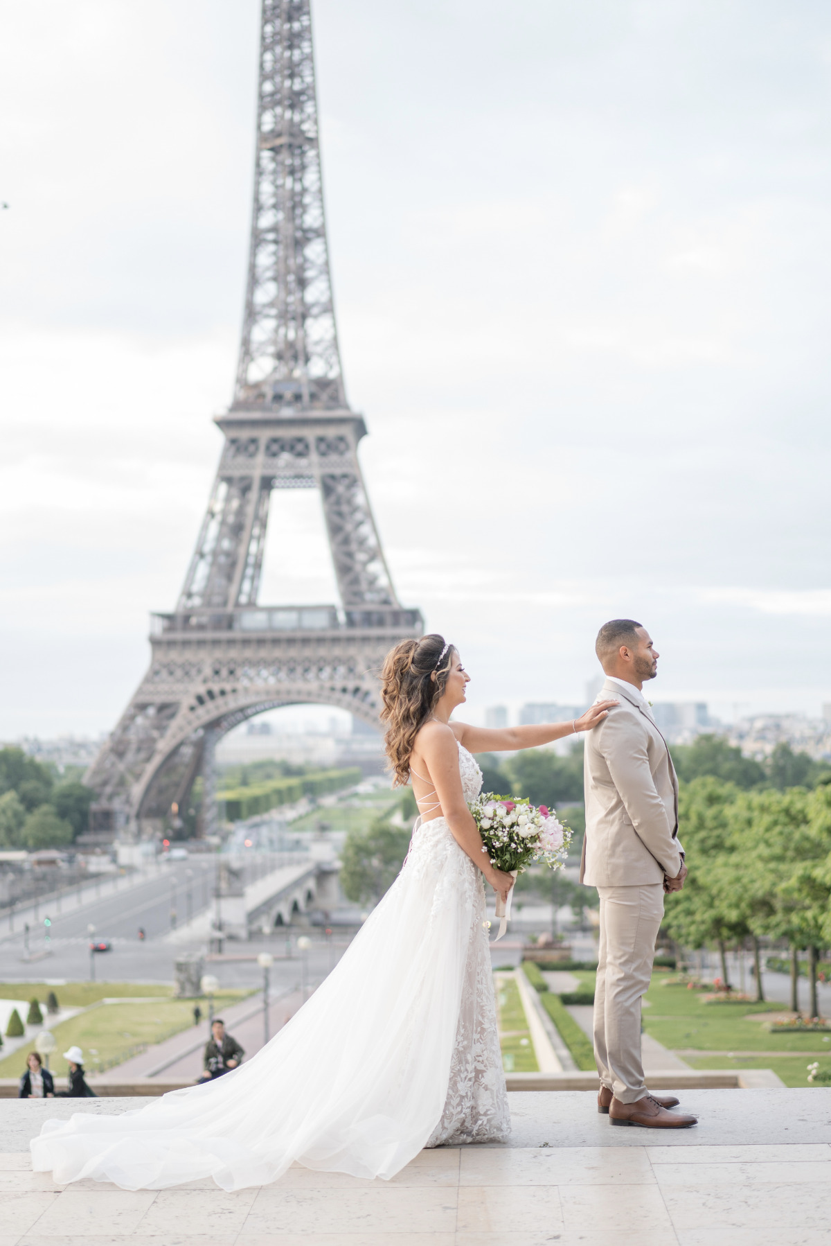 first look in front of the Eiffel Tower