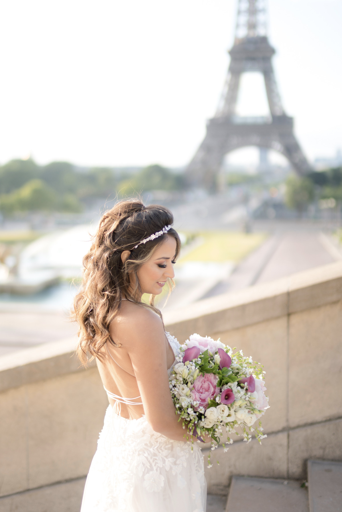bride at her Paris elopement