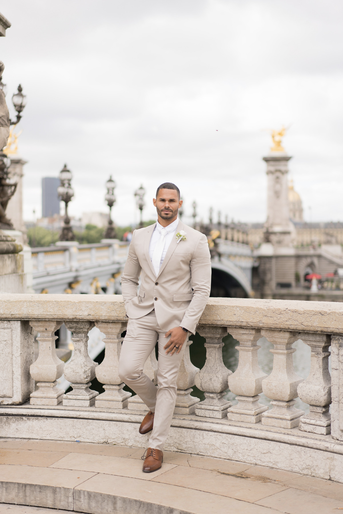 Paris elopement looks for the groom