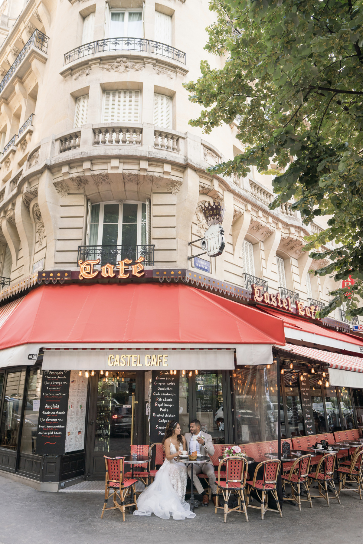 Romantic Parisian cafe after sunrise elopement