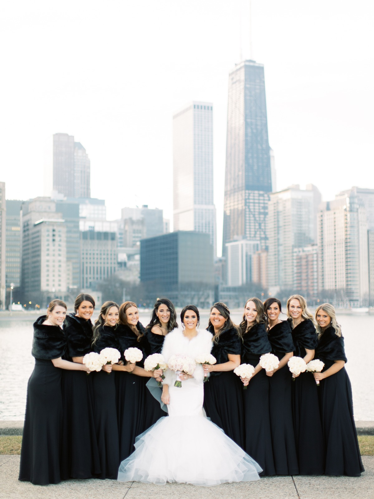 Jenny Yo black bridesmaid dresses