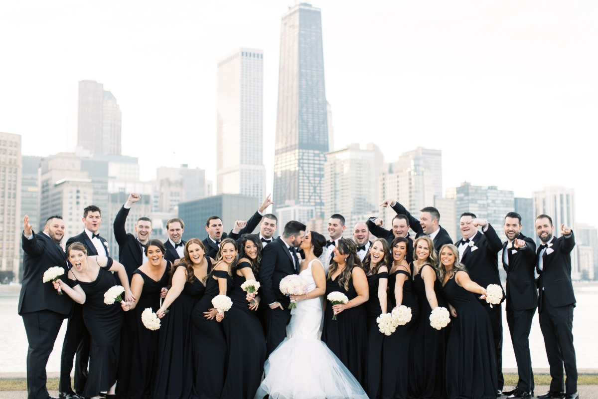 large bridal party wedding photo
