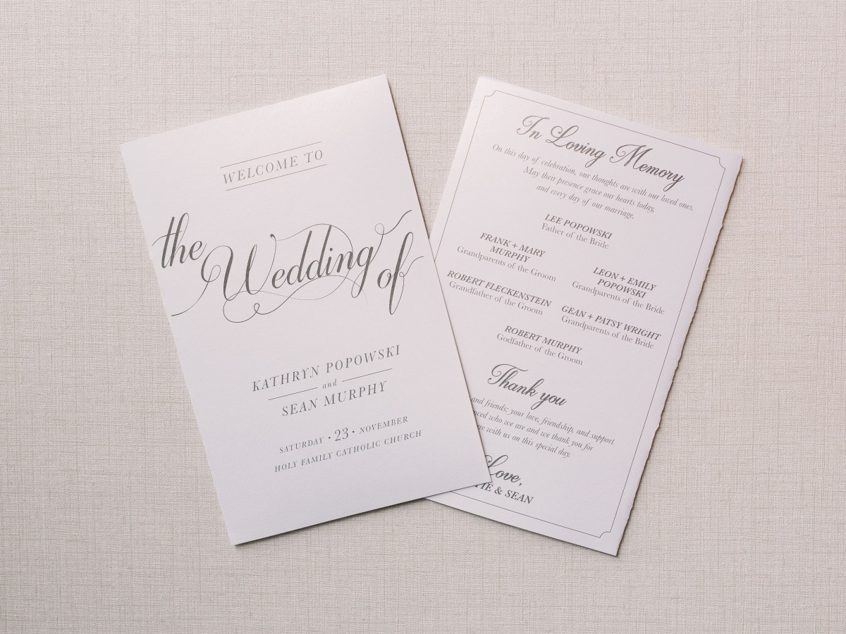 wedding programs with In loving Memory on the back