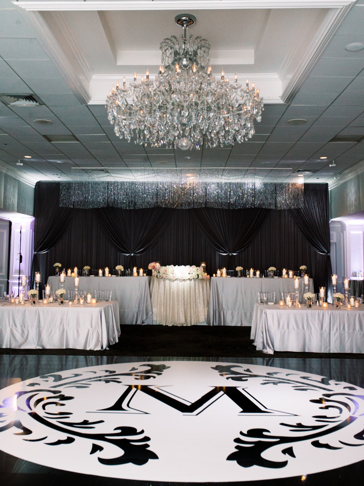 large monogram on dance floor