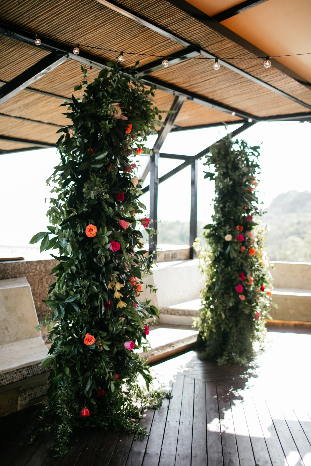 tropical floral wedding backdropo