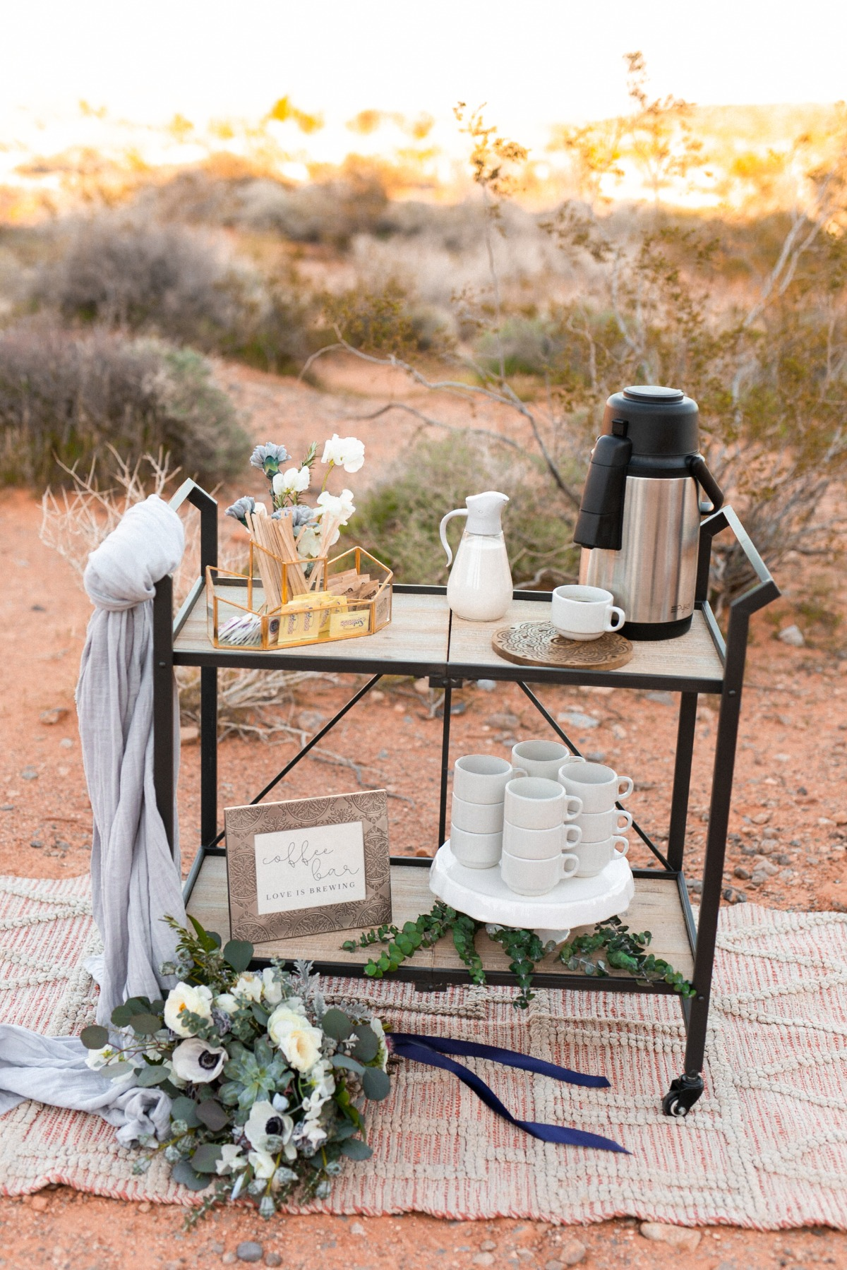 coffee station set up at wedding