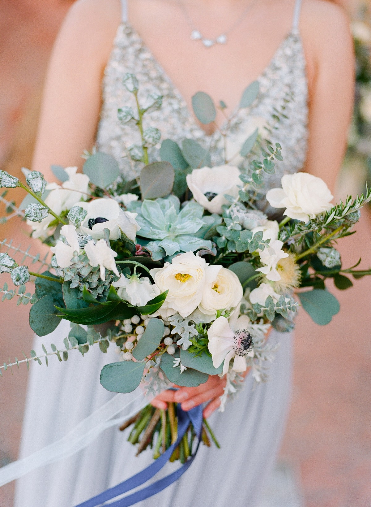 Green and white desert inspired bouquet by Gaia Flowers