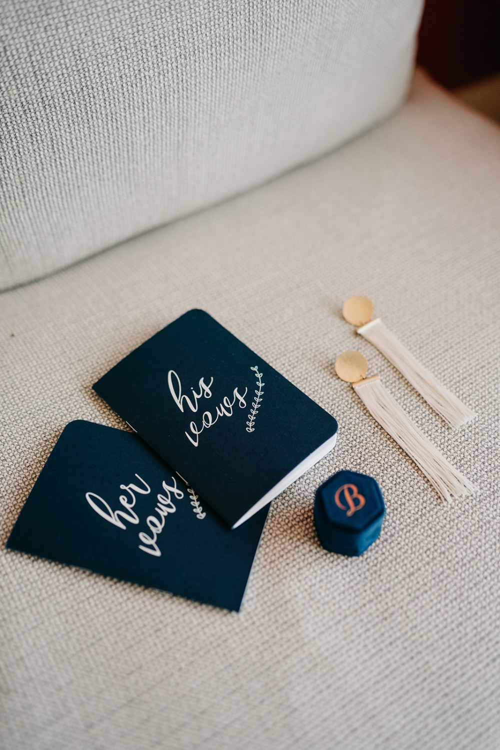 navy blue his and her vow books