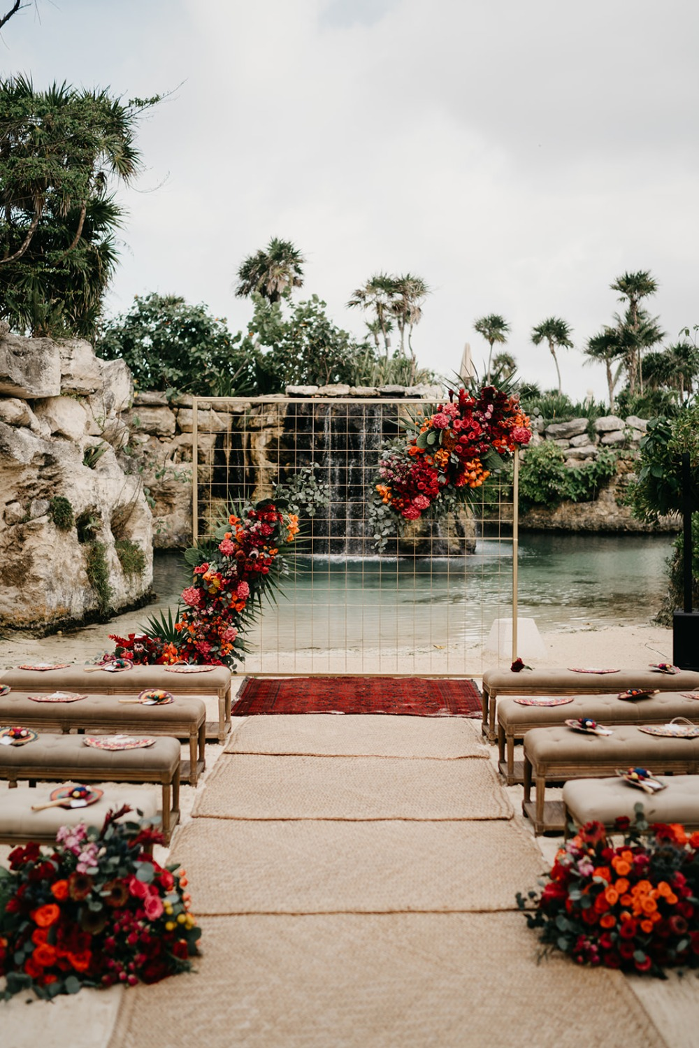 Frida Kahlo Inspired colorful Mexico ceremony set up