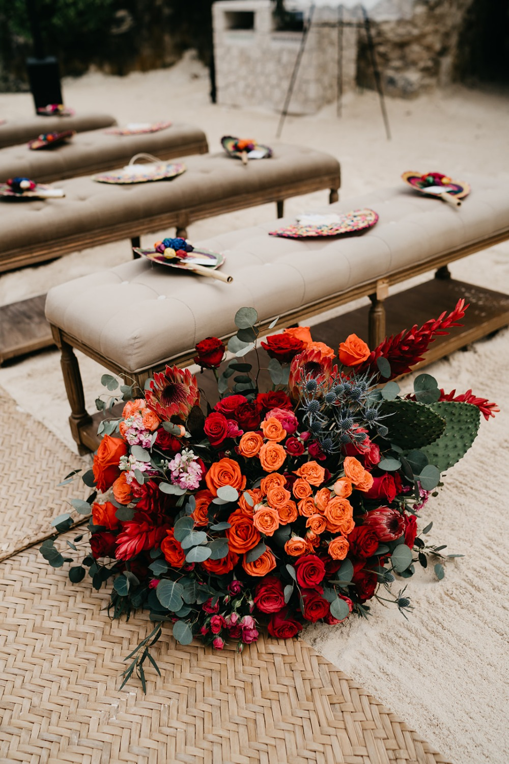 bright and colorful aisle decor at Mexico destination wedding