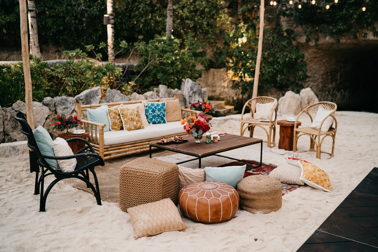 boho inspired lounge area at wedding