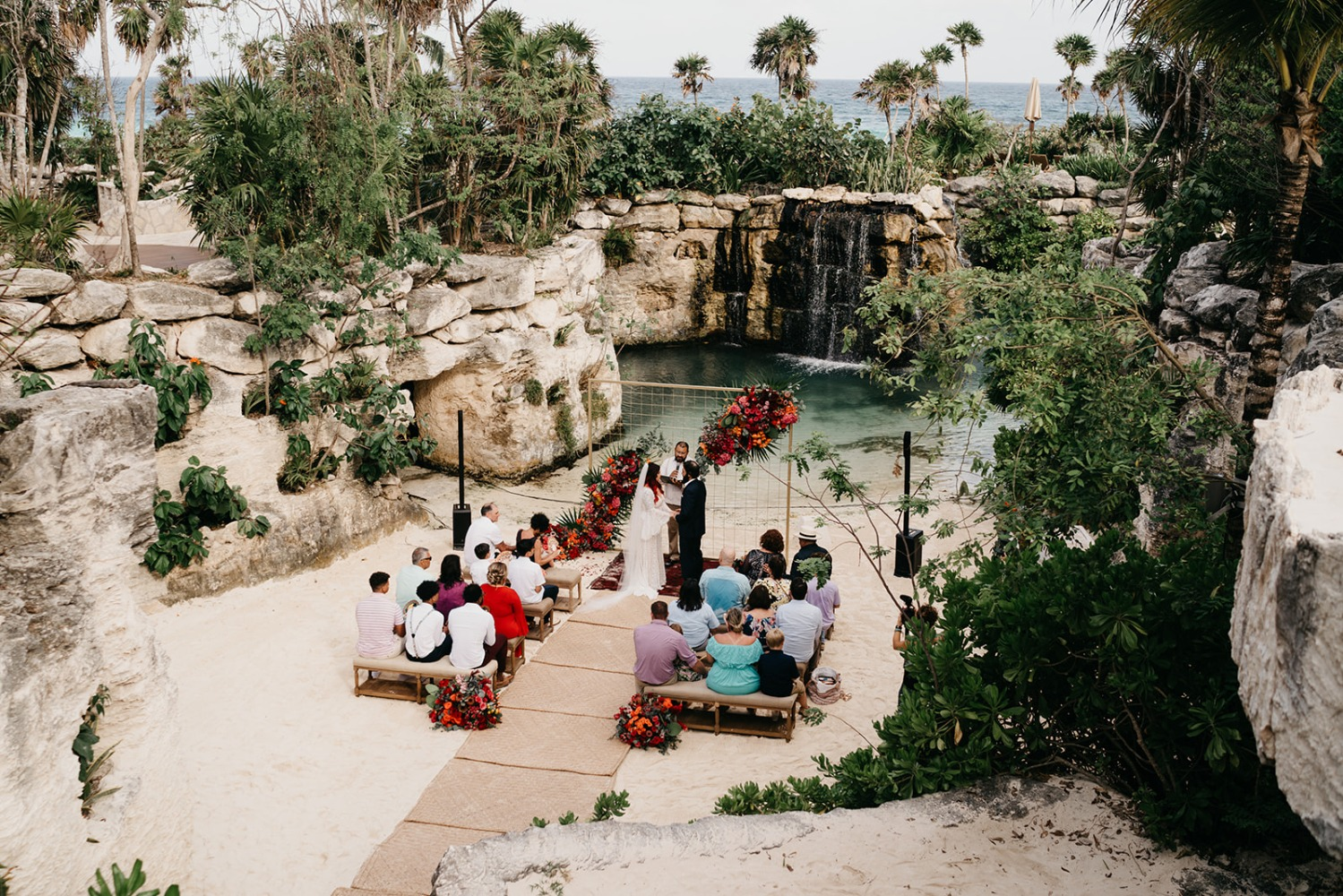 bright and colorful Mexico destination wedding ceremony