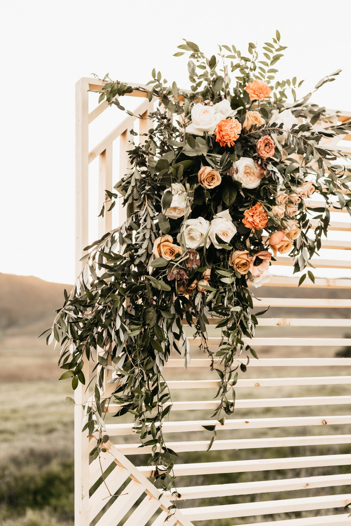 wedding florals used on backdrop