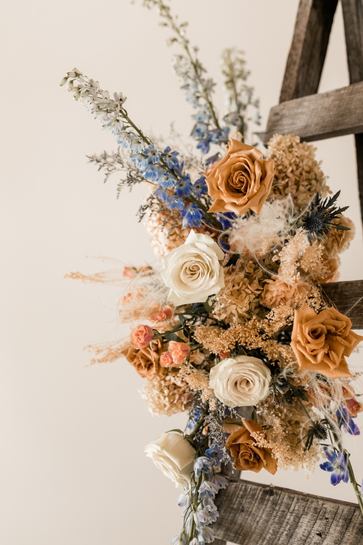 blue and orange wedding flower ideas from Flourish & Knot