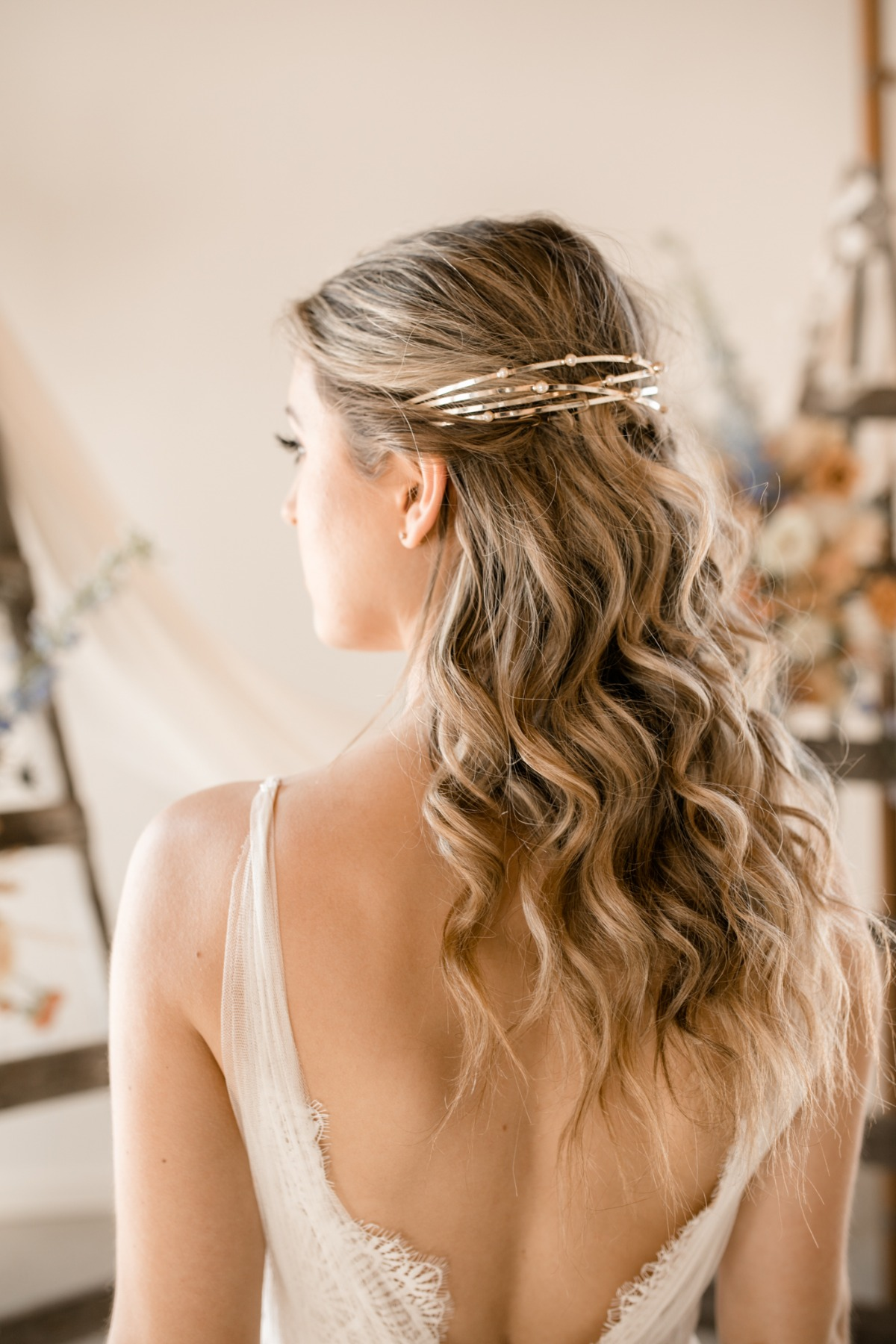 gold wedding hair piece from  Untamed Petals