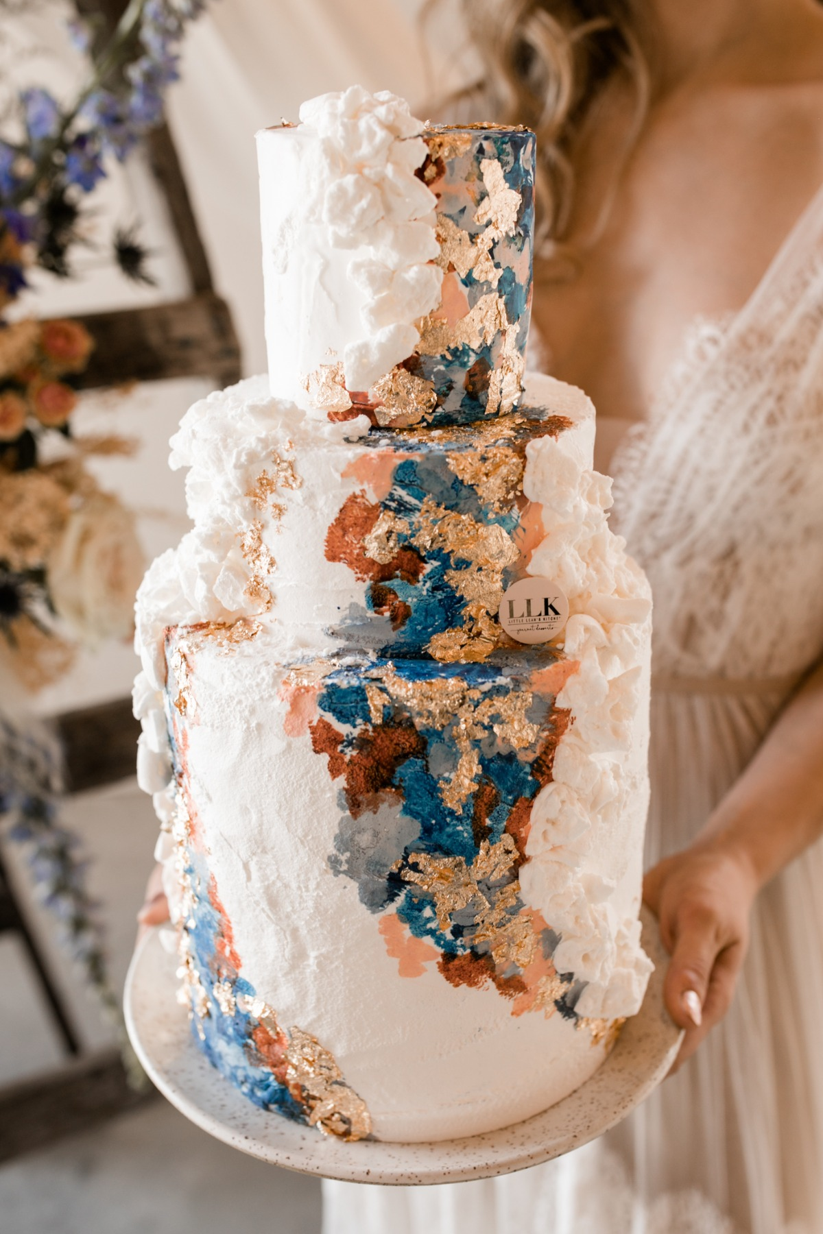 gold, navy and orange wedding cake by LLK Little Leahs Kitchen