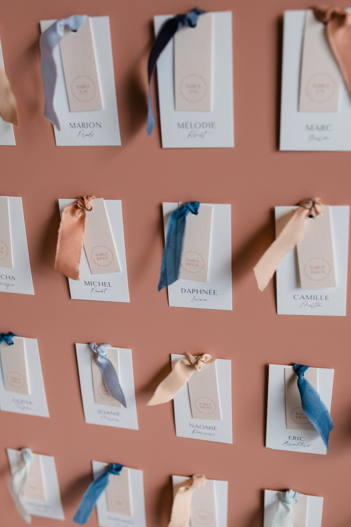 modern typography escort cards