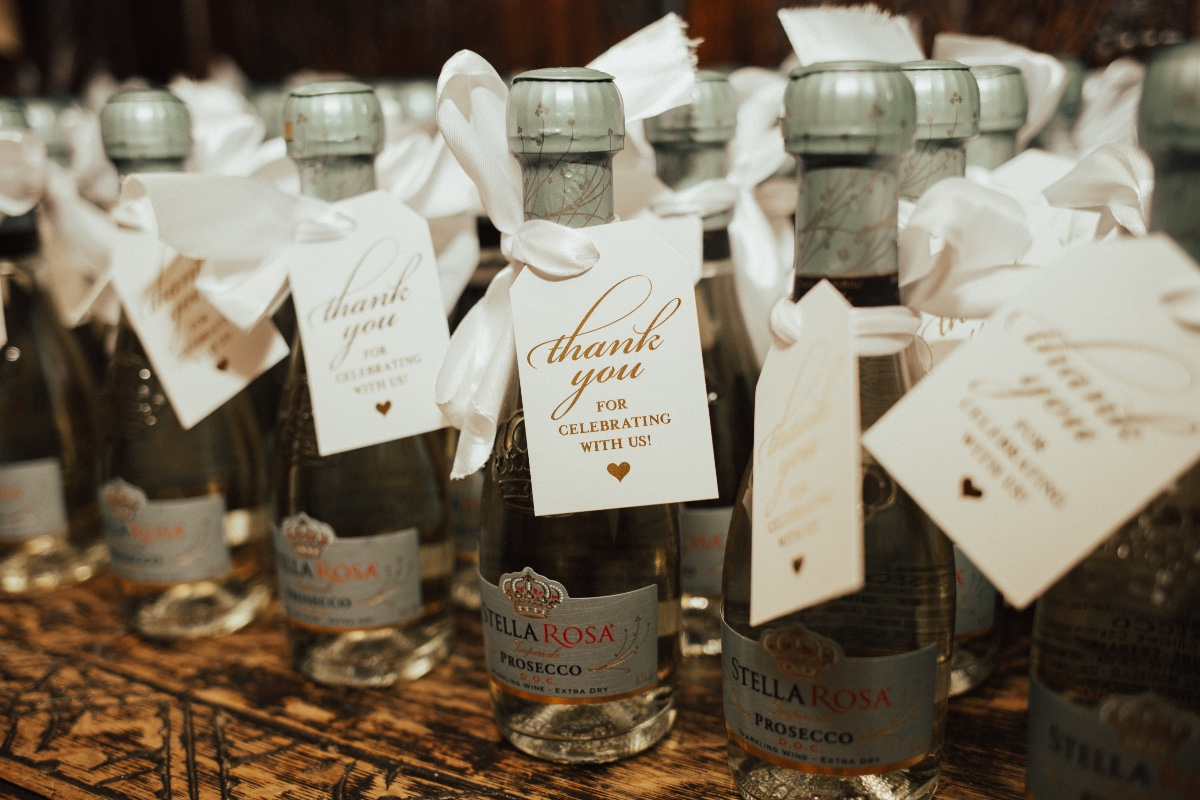 Thank you Prosecco wedding favors from Stella Rosa