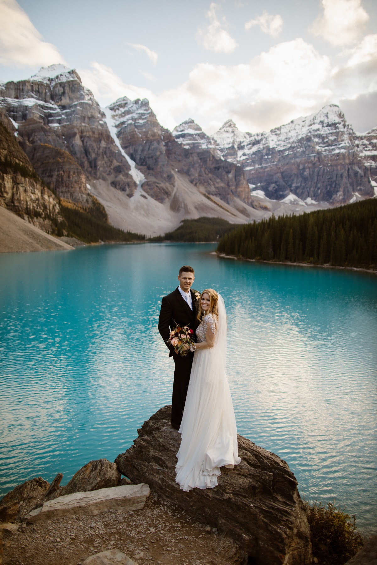 Moraine Lake wedding portraits