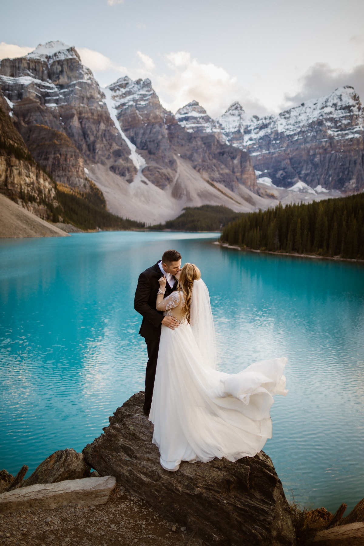 Moraine Lake wedding portrait captured by Film and Forest Photography