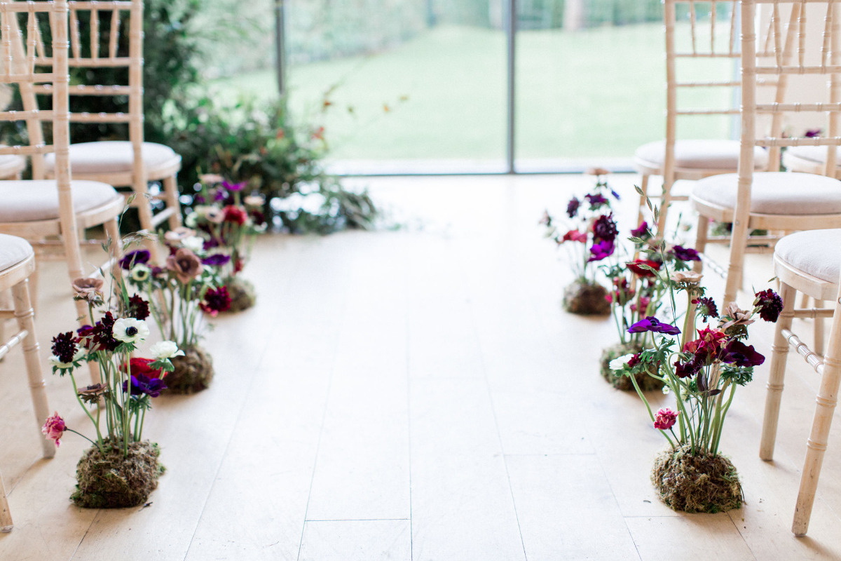 eco-friendly wedding aisle decor