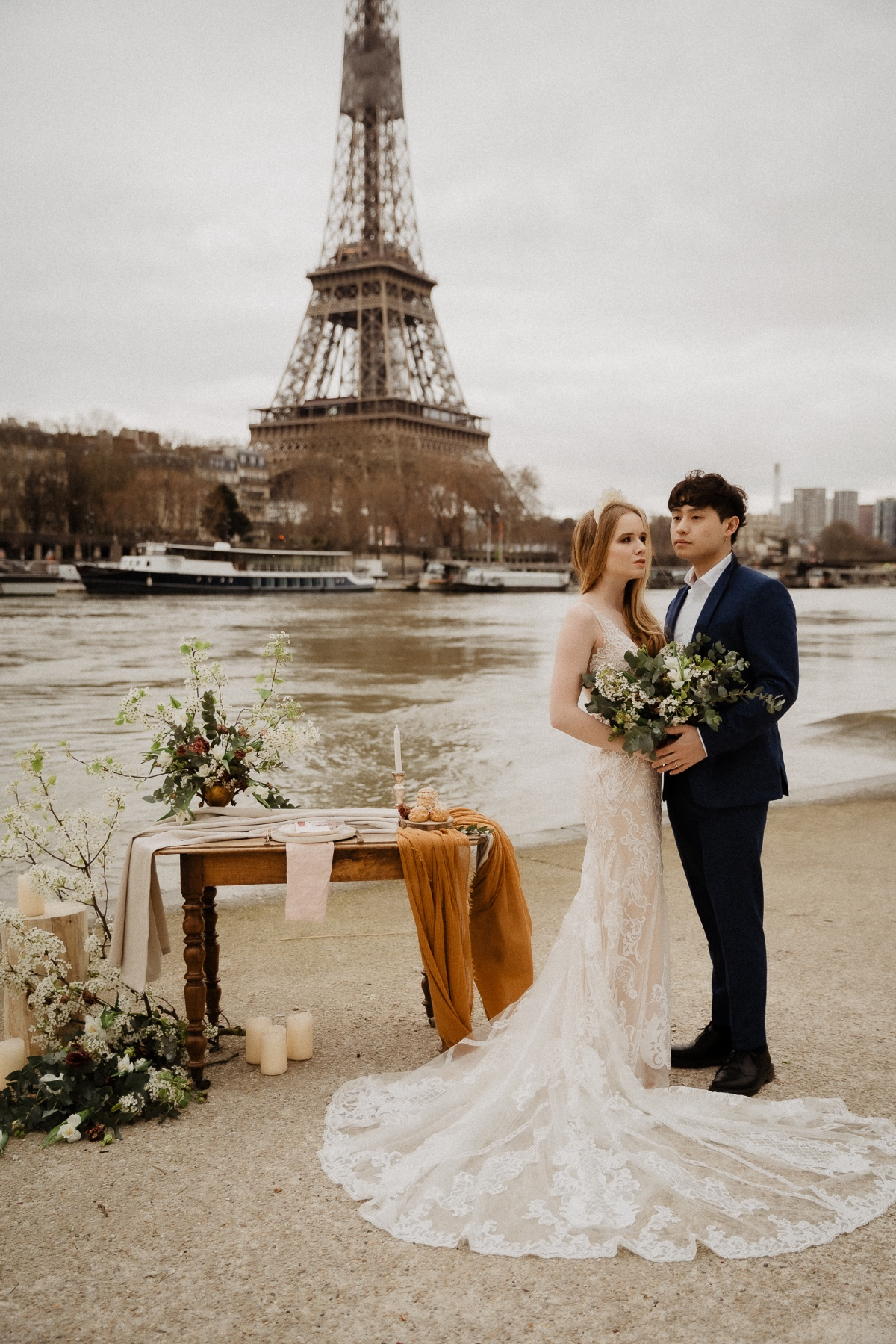Paris elopement by the Seine River in France
