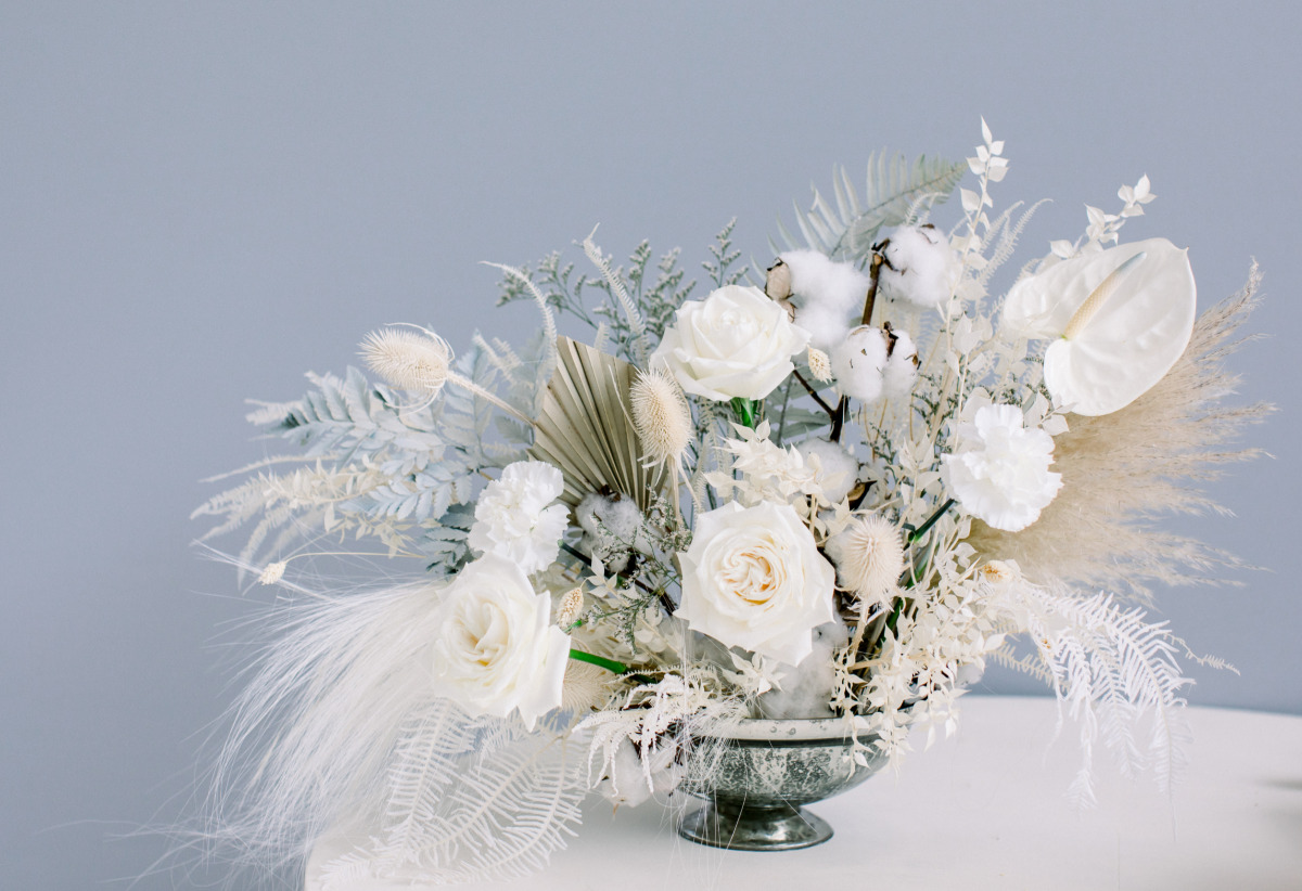 white boho wedding centerpiece by I Do Rentals AZ