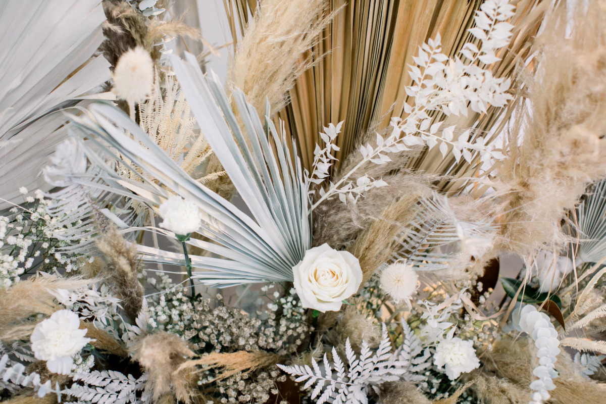 dried pampas grass wedding backdrop