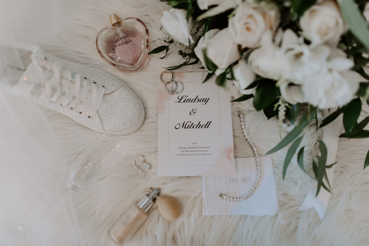 flat lay styling with white sparkly sneakers